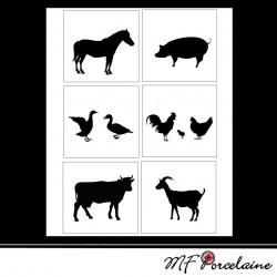 "Sticker ""A la ferme"" Silhouette d'animaux"