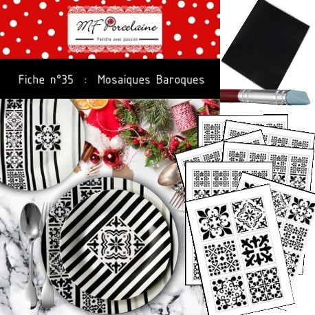 PACK COMPLET Fiche n°35 - Mosaïques Baroques + stickers